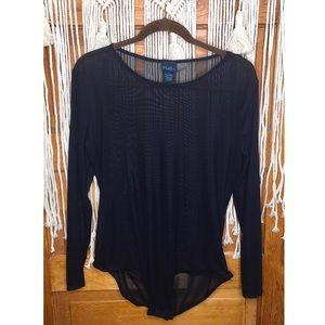 Rue Plus Black Sheer Long Sleeve Bodysuit